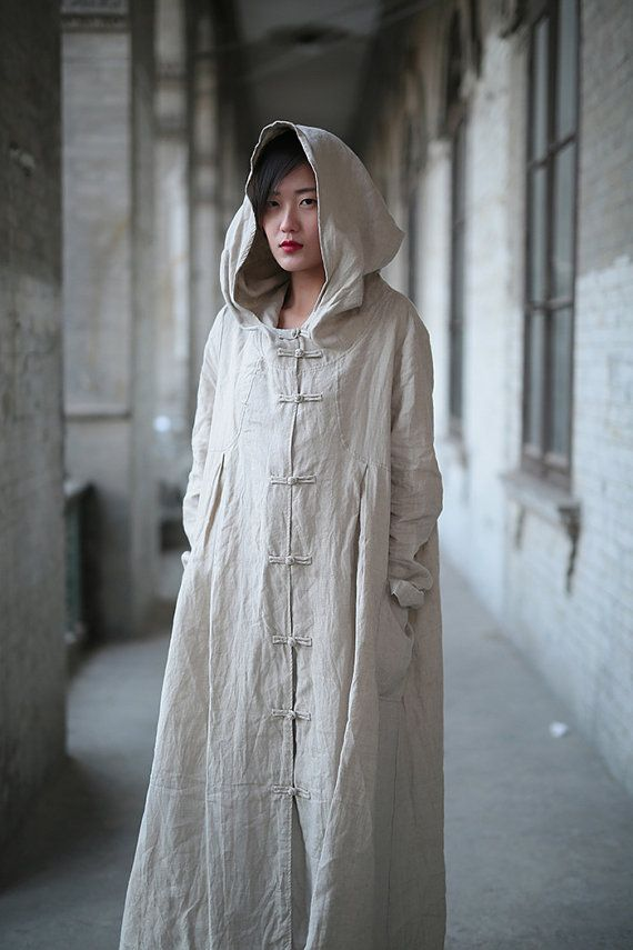 Linen dress Cotton dress Linen coat Hooded Long sleeve by Luckywu
