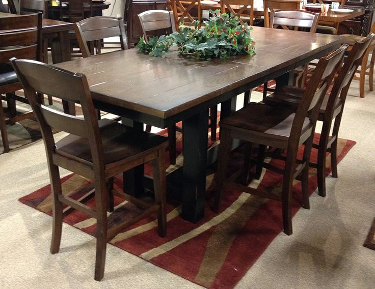Marileze Dining Room Set With The Rustic Look Of Two Toned Rich Brown Color Table Top And Rubbed Vintage Black Base Finishes Beautifully