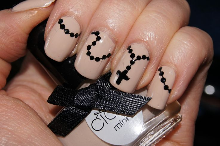 Rosary nails black n beige by johanna v.