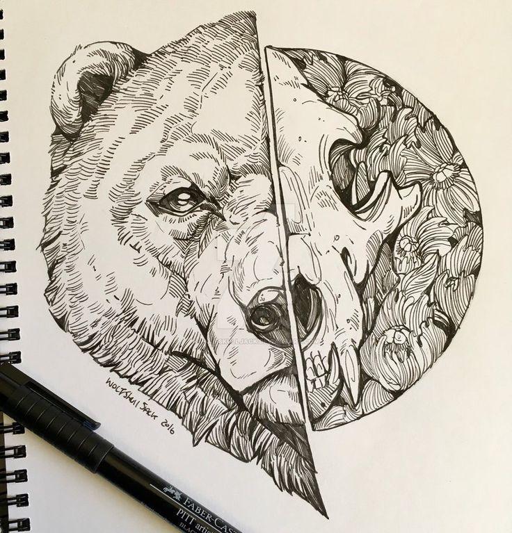Bear Skull Drawing Best 20+ Bear drawing ...