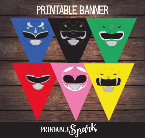Power Ranger Birthday Banner Power Ranger Party Banner Power