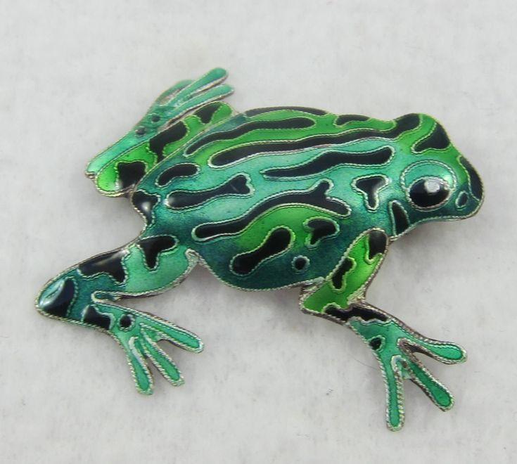 Sterling Silver Enamel Cute Frog Brooch Pin by Framarines on Etsy