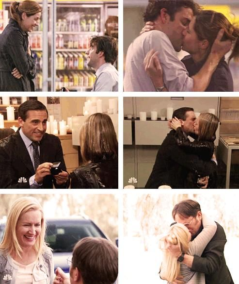 The Office Proposals: Jim & Pam, Michael & Holly, Dwight & Angela.