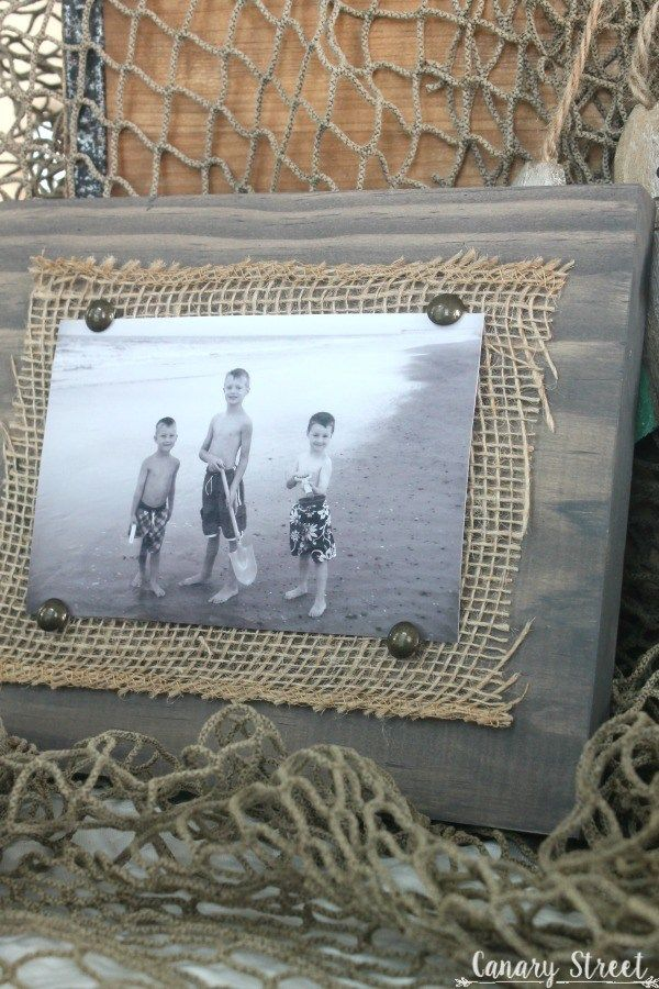 Easy Scrap Wood And Burlap Picture Frame