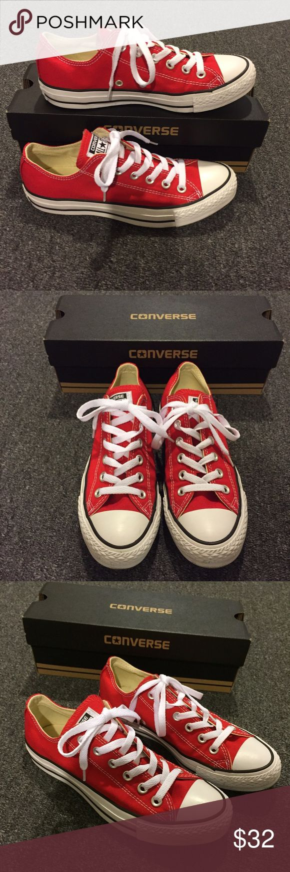 Red Converse Fairly new red converse! Converse Shoes Sneakers