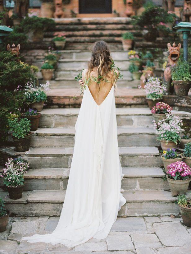 backless flowy wedding gown