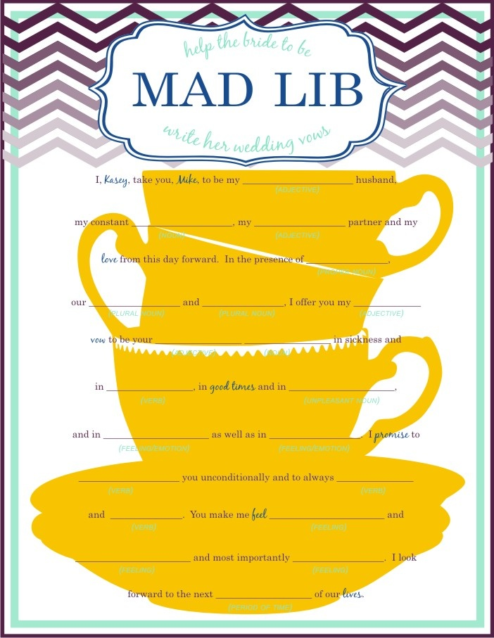 Mad Lib Bridal Shower Since G Loves Libs Might Be Fun