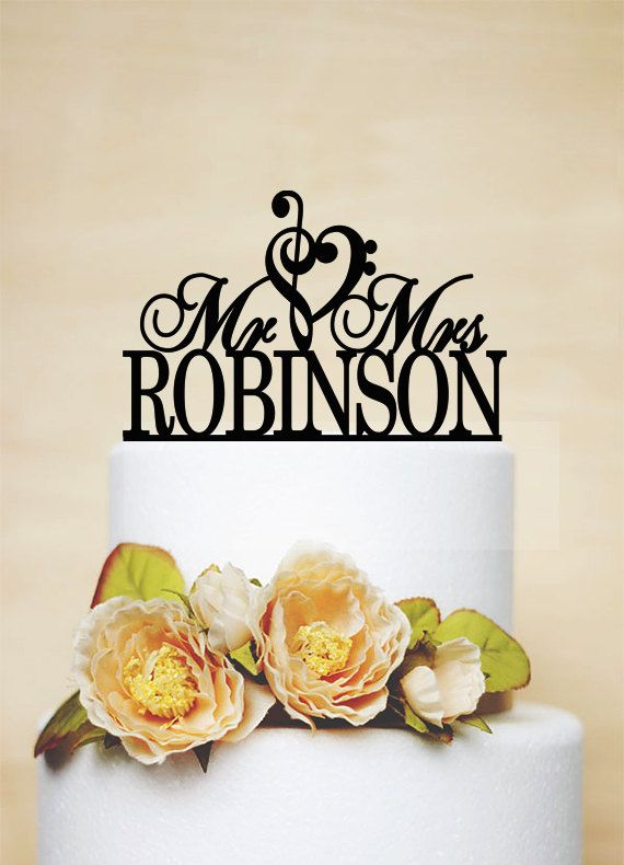 Mr And Mrs Wedding Cake Topper With Your Last Name,Music Heart Design Cake Topper,Custom Wedding Topper,Wedding Cake Decoration-C041