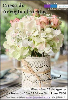 Inscripción abierta para el Curso de Arreglos florales de 2 meses de duración. Inicia miércoles 5 de Agosto a las 16 horas, con clases semanales.