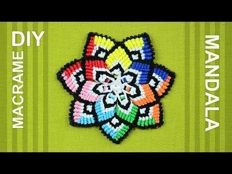 ▶ Colorful Mandala Flower in Macramé / DIY Tutorial - YouTube