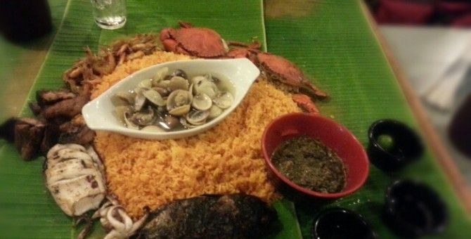 Banana leaves used as a plate