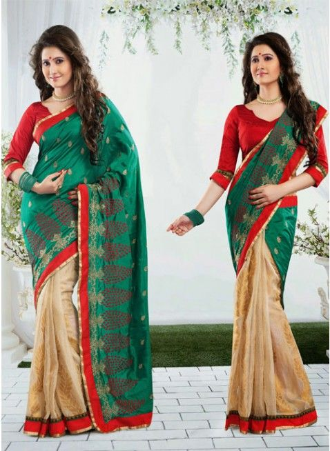 Lush Beige & Bottle Green Embroidered Color Art Silk Based Embroidered #Saree #clothing #fashion #womenwear #womenapparel #ethnicwear