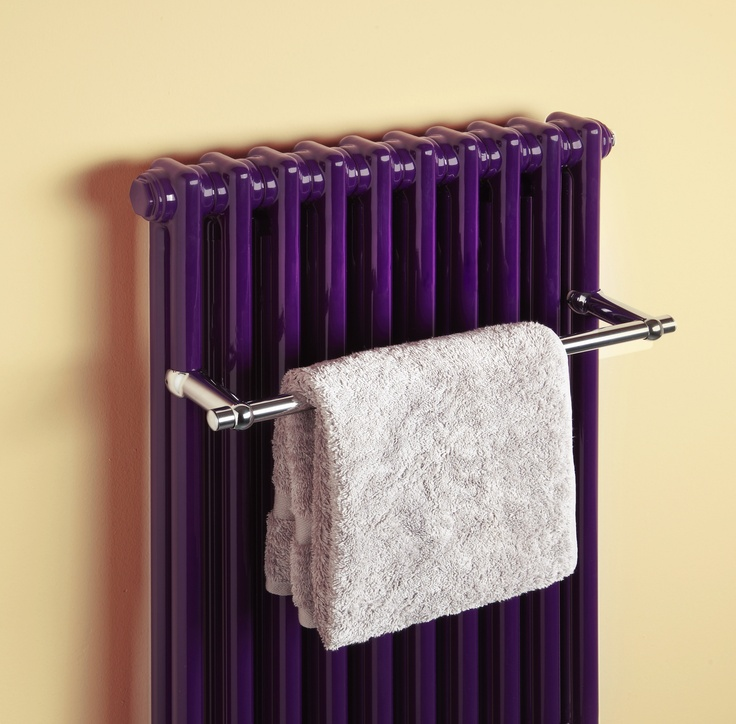 Classic towel radiator in dark purple featuring the latest Classic towel bar.