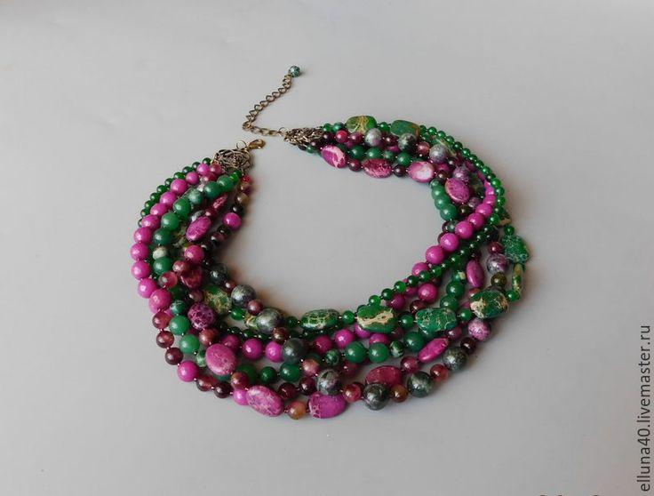 Купить Ожерелье в семь нитей из варисцита,агата, турмалина - зеленый, фиолетовый, малиновый, колье, ожерелье