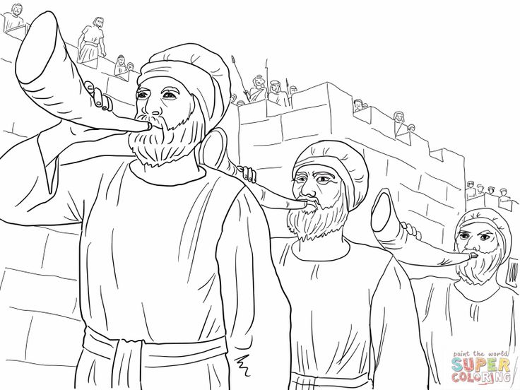 coloring pages jericho | Joshua and the army march around Jericho blowing trumpets ...
