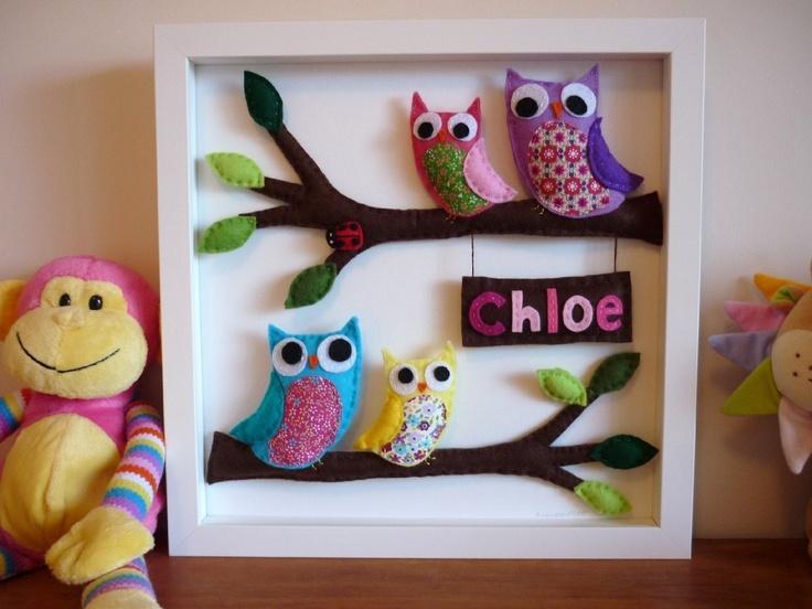 3D Personalized Felt Art - Rainbow Owl Family - Your Family - Unframed. $99.00, via Etsy.