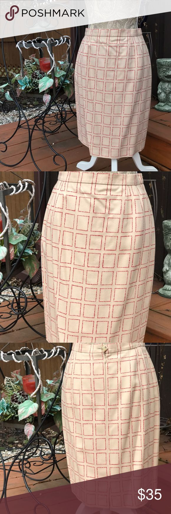 VTG LOUIS FERAUD PENCIL SKIRT IVORY W/RED SIZE 6 VINTAGE LOUIS FERAUD WOMEN'S PENCIL LINED SKIRT COLOR IVORY WITH RED DESIGN SIZE 6.  THE WHITE TAG ON INSIDE OF SKIRT IS WORN. THE SKIRT IS MADE OF 99% VIRGIN WOOL 1%NYLON, LINING 100% RAYON.  EXCELLENT CONDITION LOUIS FERAUD Skirts Pencil