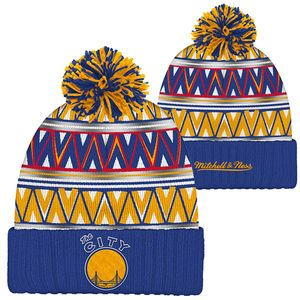 Golden State Warriors Mitchell & Ness The City Tribal Hi 5 Pom Knit Royal/Gold/Red