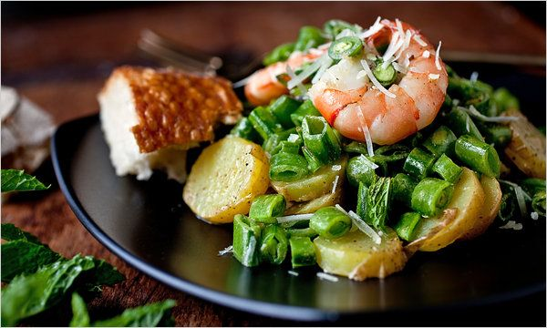 Melissa Clark's shrimp, sugar-snap pea and potato salad with mint. Photo: Andrew Scrivani for The New York Times