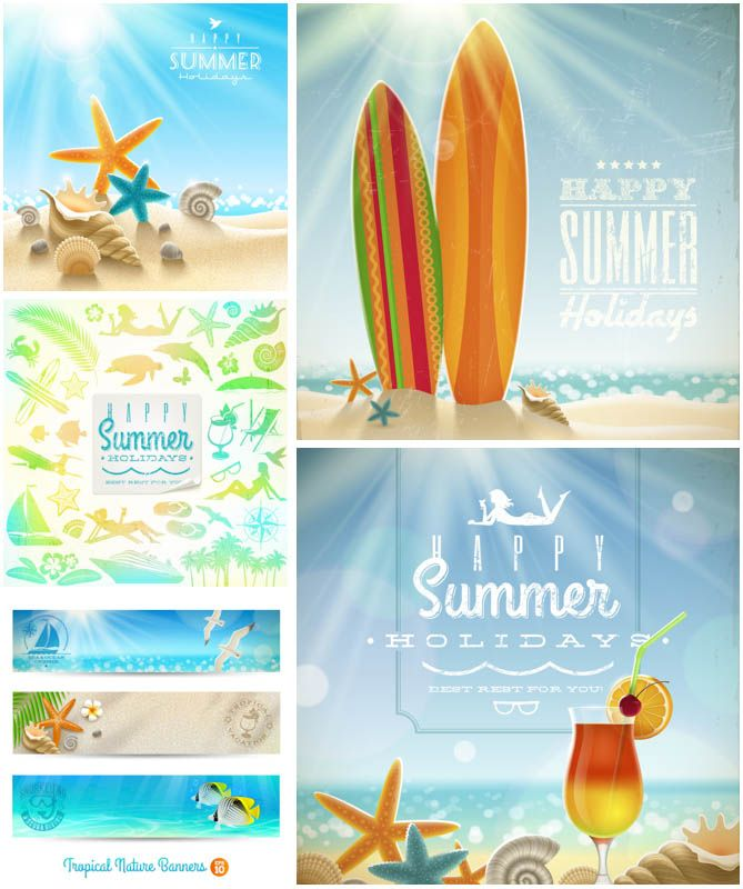 Summer Backgrounds Vector Clip Arts in EPS and AI Formats