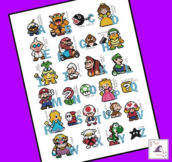 Today's featured #crossstitch pattern:  The ultimate gamers alphabet comes to life with this Mario Brothers counted cross stitch pattern  Fabric size: 50 x 60 cm (14 count aida, 28 count evenweave) Finished desig... #luigi #nintendo #games #needlecraft #dmc
