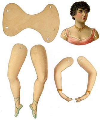 Here are some scans of antique paper dolls that can be used to make articulated dolls or Christmas ornaments
