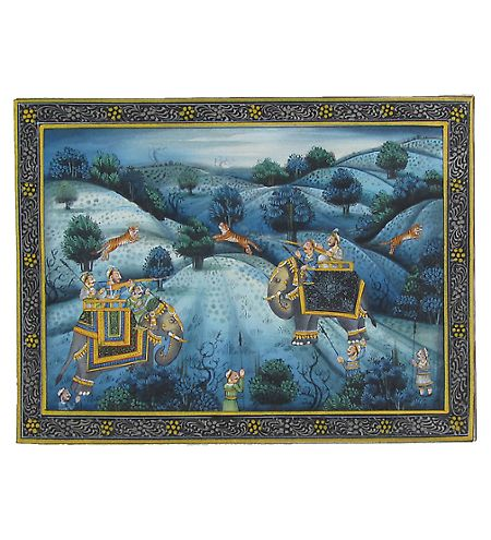 eCraftIndia Mughal Miniature Painting - Hunting...