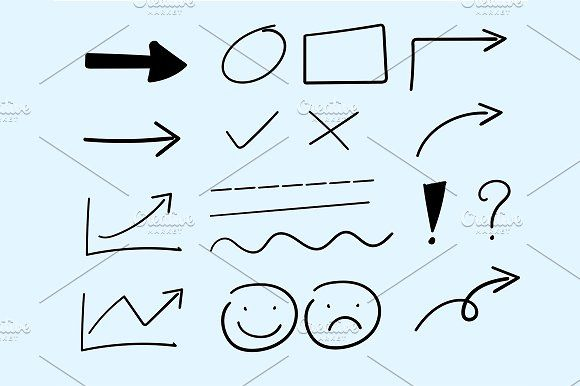 vector hand draw arrow and icon by charnsitr on @creativemarket