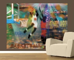 46 best images about kids sports decorating ideas on for Basketball mural wallpaper