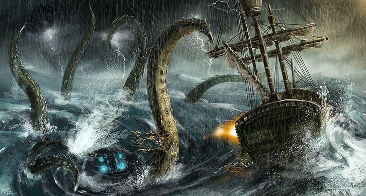 Hd Wallpaper Kraken Attacking Sailing Ship Artwork Fantasy Art Rain Sea Wallpaper Flare In 2021 Fantasy Art Kraken Ship Artwork