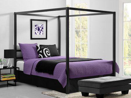 DHP Modern Metal Framed Industrial Canopy Bed Frame, Queen, Grey