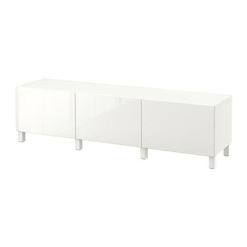 BESTÅ Combi almacenaje cajones, blanco, Selsviken alto brillo/blanco riel para cajón con cierre suave blanco/Selsviken alto brillo/blanco 180x40x48 cm