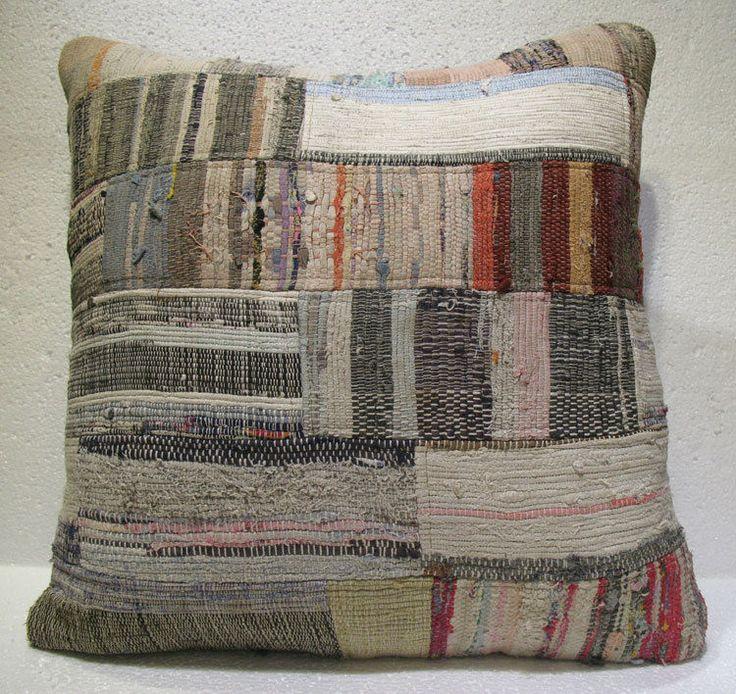 Antique Patchwork Couch Throw Pillow Turkish Kilim Rustic Cushion 26.8'' (ks 97) #Handmade