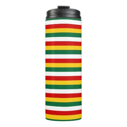 Suriname flag stripes lines pattern thermal tumbler - pattern sample design template diy cyo customize