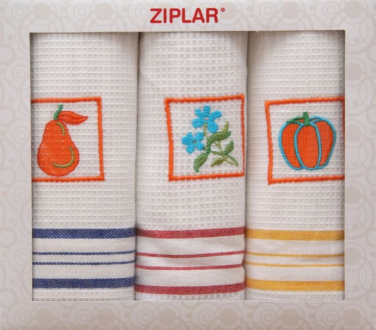 Bílá sada bavlněných kuchyňských utěrek s motivem oranžových rámečků