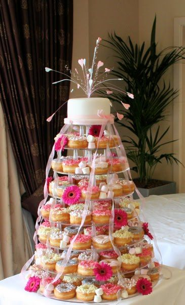 Doughnut wedding cake tower  The prettiest doughnut wedding cake we've seen!
