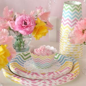 Chevron Pastels Party Package This gorgeous chevron partyware package by Illume Design