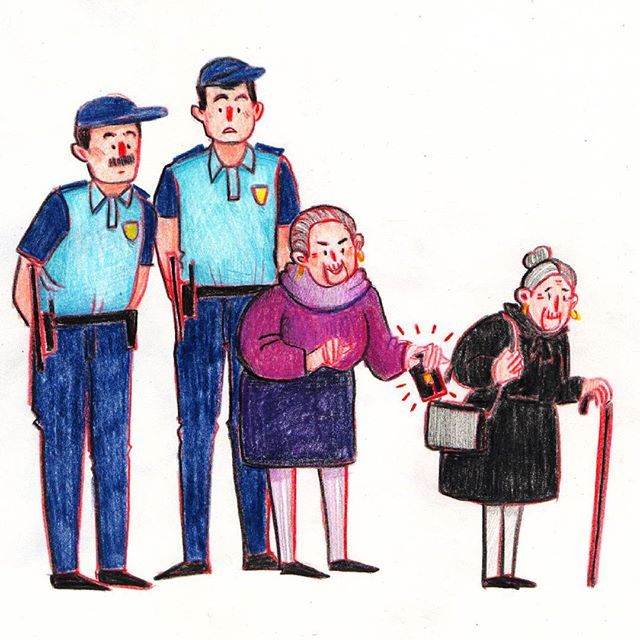 Dona Quina is the oldest pick pocketer of Porto, with 86 years old. But not a very good one, apparently as she always gets caught by the police. She targets old ladies such as herself who are nice enough to forgive her most of the times.  #donaquina #doodle #sketch #sketchbook #drawing #pencils #art #artwork #illustration #illustrationoftheday #illustrationartist #oldlady #pickpocket #people #character #characterdesign #police