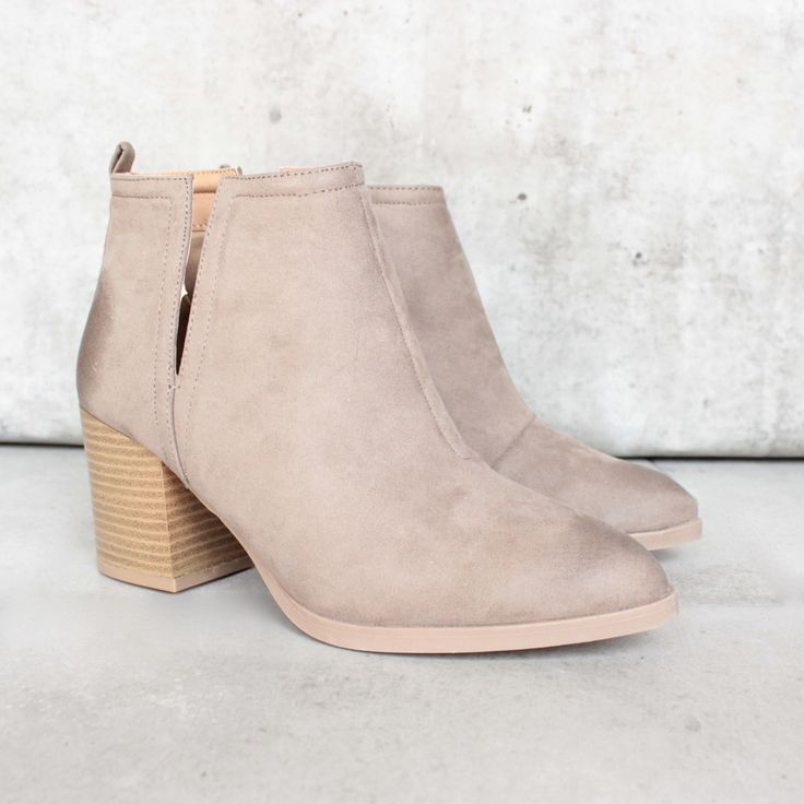 side slit chelsea ankle booties - taupe - shophearts - 1