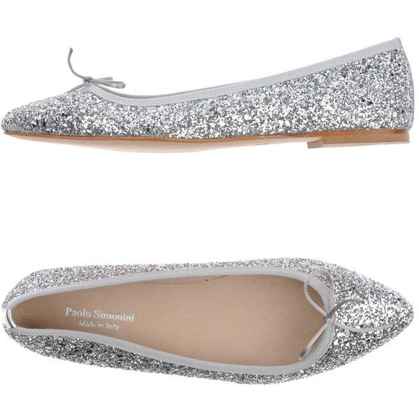 Paolo Simonini Ballet Flats (9.010 RUB) ❤ liked on Polyvore featuring shoes, flats, silver, ballet pumps, bow shoes, glitter shoes, leather sole shoes and flat ballet pumps