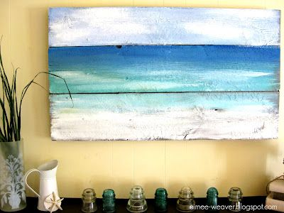 Ocean painting on wood. Perfect for a sea inspired summer mantle! The wood is from an old barn door. Just paint the ocean the way you see it. You really can't go wrong here.