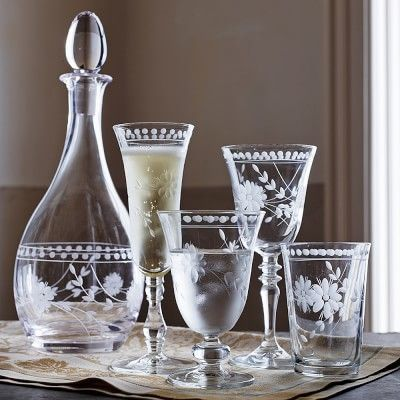 Vintage Etched Glassware Collection #williamssonoma
