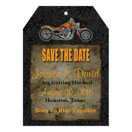 Biker Save The Date Card A grungy save the date card designed for a motorcycle or Harley Davidson themed wedding. The save the date card includes an image of a chopper motorcycle with an orange and yellow flames paint job printed on a background of old, vintage paper framed with an asphalt texture. The card includes a mixture of black and orange text. The back of the card is solid, black asphalt road. There are five editable text fields for adding the save the date details of your wedding…