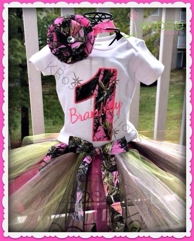 Pink Camo First Birthday for Girl or regular Camo for Boy, shirt or onesie  Www.facebook.com/krosekreations