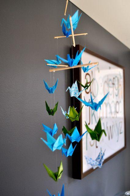 Mobile idea....use tree limb and colorful scrapbook paper.