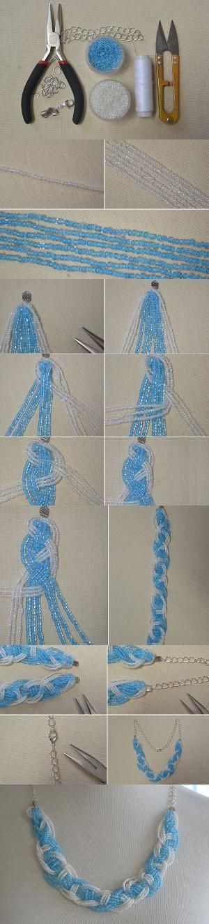 Tutorial on How to Make a Blue Braided Seed Bead Necklace at Home from LC.Pandahall.com #pandahall | Jewelry Making Tutorials & Tips 2 | Pinterest by Jersica