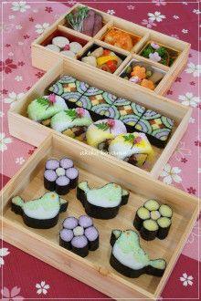 日本人のごはん/お弁当 Japanese meals/Bento 美しい巻寿司 Makizushi variation 酢てきなごちそう