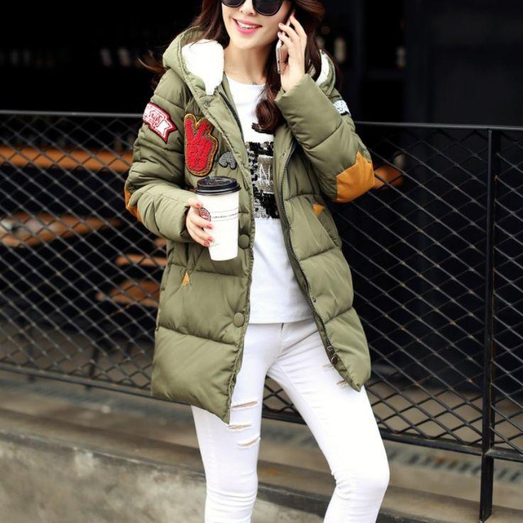 Women Winter Jacket Plus Size Cotton Long Jacket Warm Chaquetas Parka Women Military Print Parkas Loose Fit Coat #Affiliate