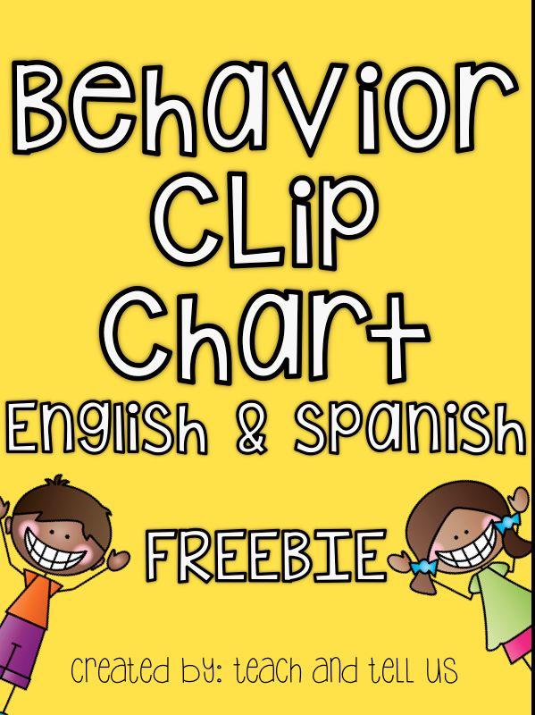 behavior clip chart english   spanish    free