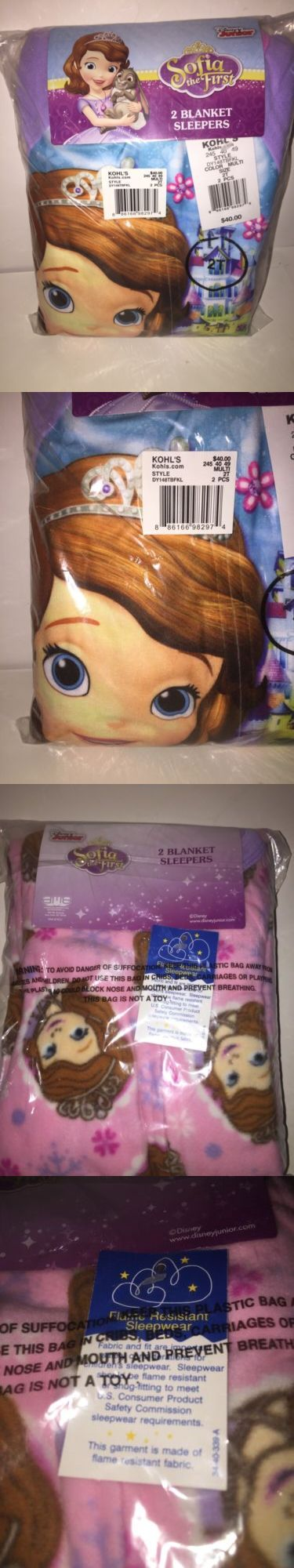 Sleepwear 147215: Disney S Sofia The First Girls 2 Blanket Sleepers Multi-Color Size 2T New Tags -> BUY IT NOW ONLY: $30 on eBay!